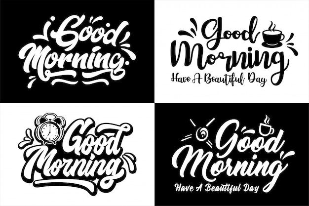 Бог утро надписи дизайн набор Premium векторы