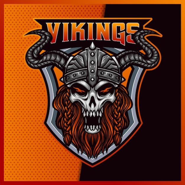 God Odin Viking Esport 및 스포츠 마스코트 로고 디자인 프리미엄 벡터