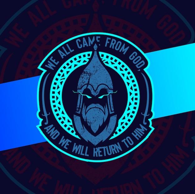 神兵マスコットイスラム教徒のロゴデザイン Premiumベクター