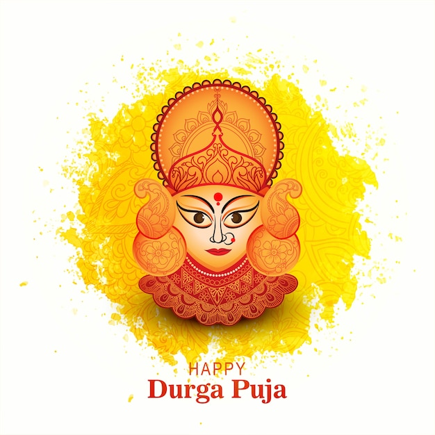 Goddess durga face in happy durga puja card background Free Vector