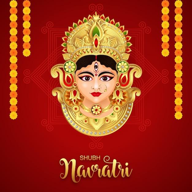 女神ドゥルガーハッピードゥルガープジャスブナヴラトリハッピードゥッセラフェスティバルインドの宗教的なバナーの背景 Premiumベクター
