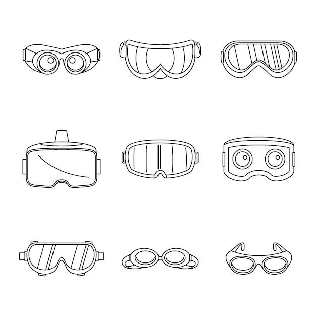 Goggles ski glass mask icons set Premium Vector