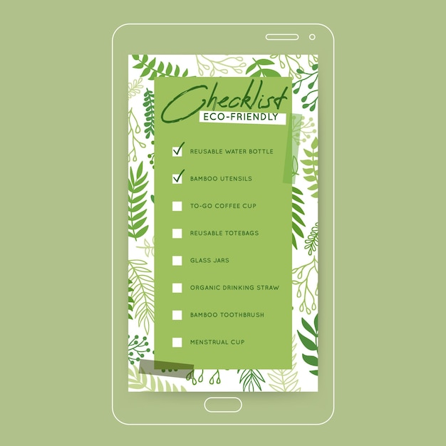 Going green checklist instagram story Free Vector