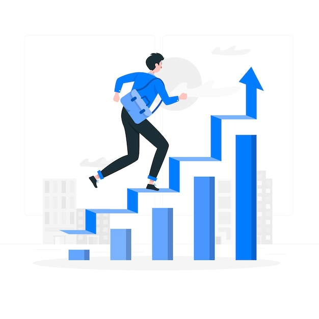Going up concept illustration Free Vector