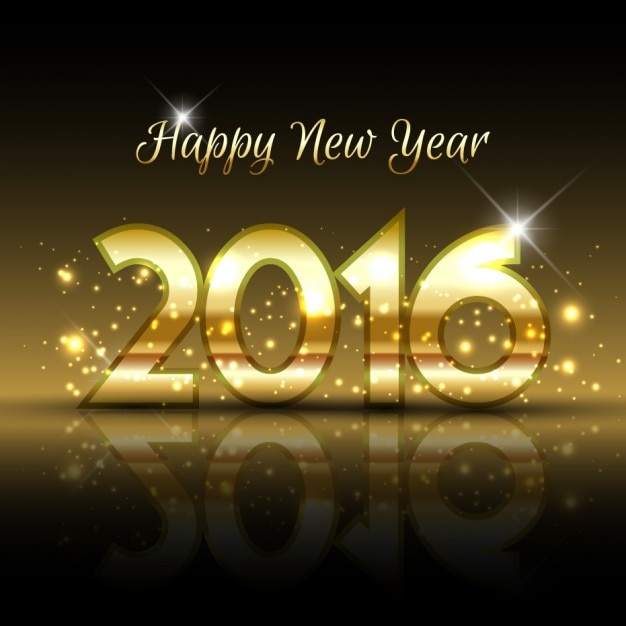 gold 2016 new year background free vector