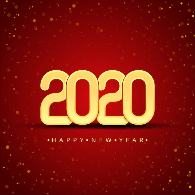Gold 2020 happy new year 無料ベクター
