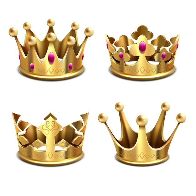 Gold 3d crown vector set Premium Vector