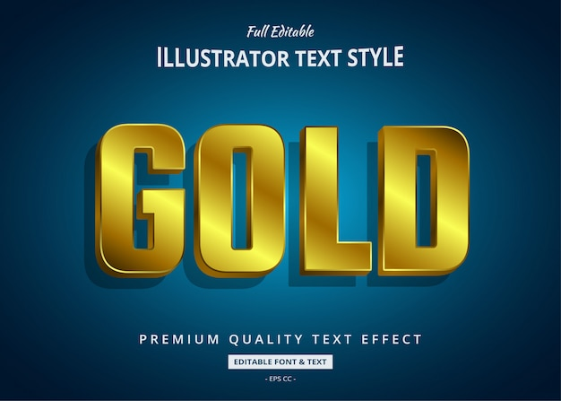 Gold 3d text style effect Premium Vector