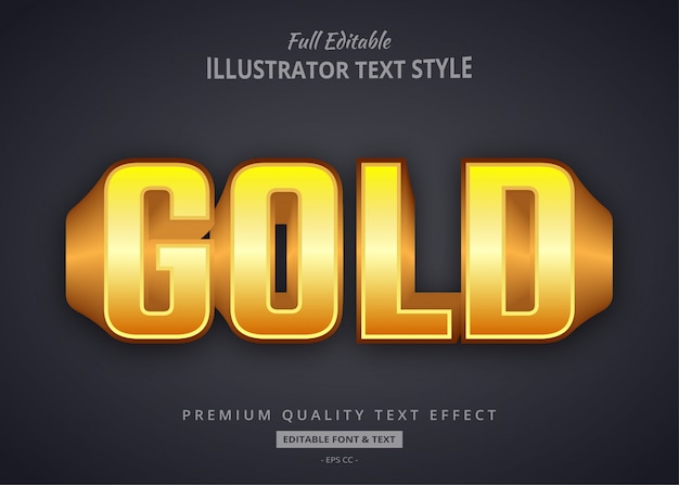 Золотой 3d стиль стиля текста Premium векторы