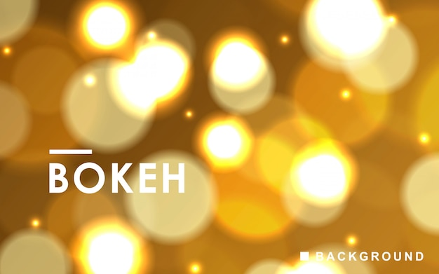 Gold abstract bokeh background with sparkling lights Premium Vector