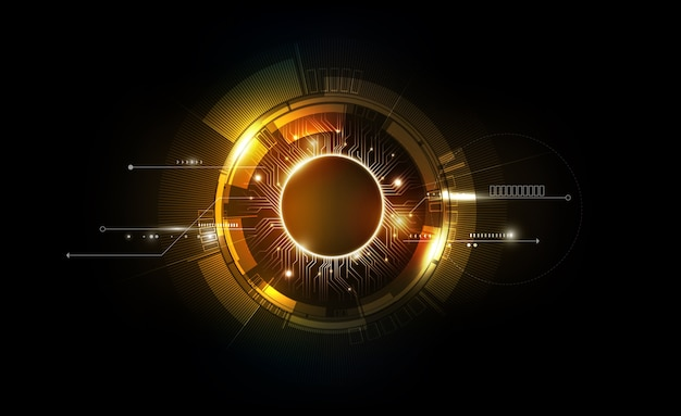 Gold abstract futuristic electronic circuit technology background Premium Vector