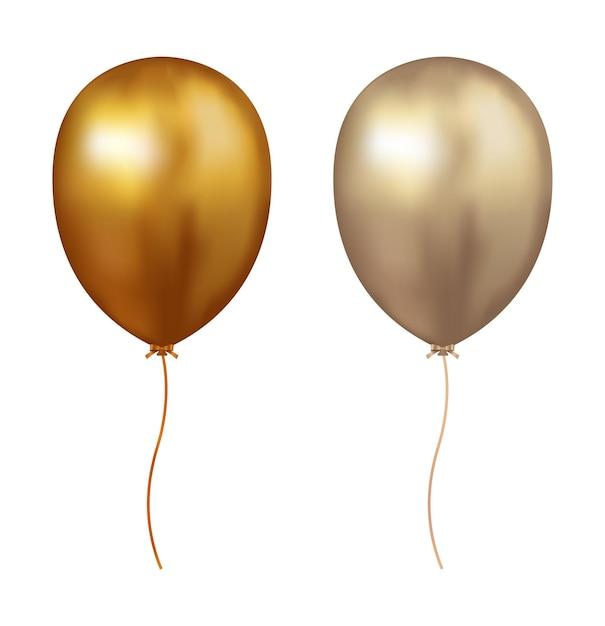 Значок золотой воздушный шар Premium векторы