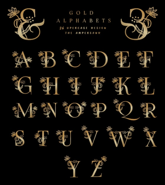 Gold alphabets 26 uppercase designs the ampersand Premium Vector