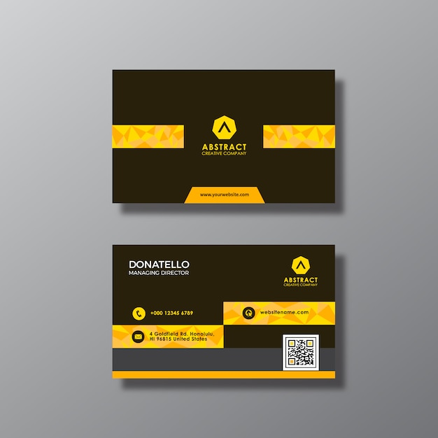 Gold And Black Business Card Design Premium Vector