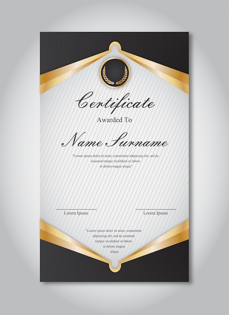 Gold And Black Certificate Template Vector Free Download