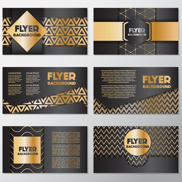 Gold and black flyer design Vector Free Download