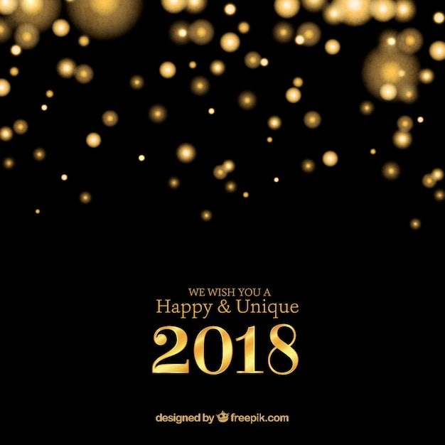 Gold and black new year 2018 background Free Vector