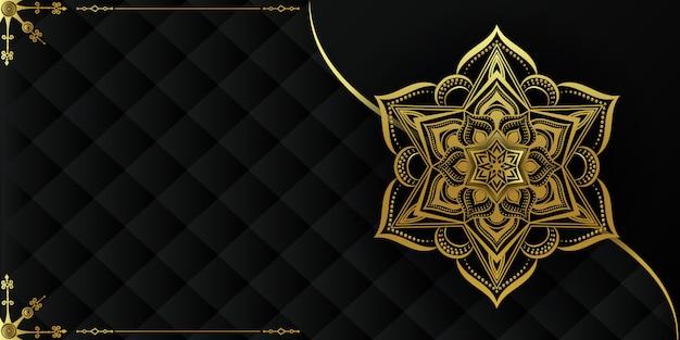 金と黒の装飾的なマンダラの背景 Premiumベクター