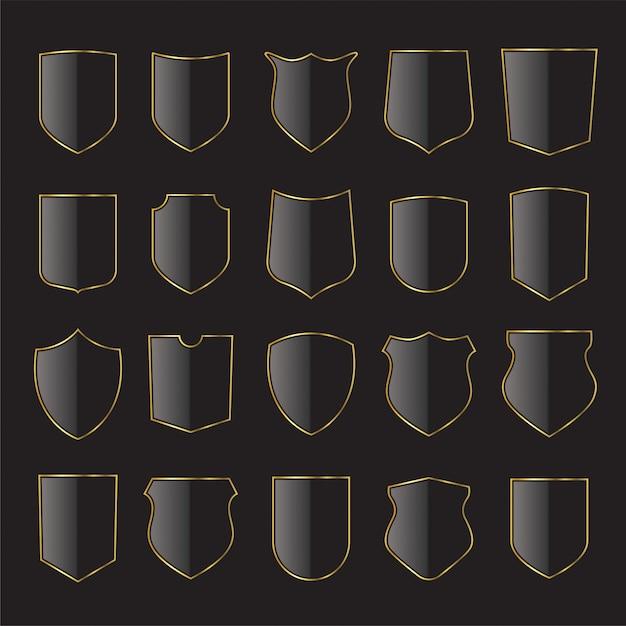 금색과 검은 색 방패 아이콘 모음입니다. 문장 학 방패, 중세 왕실 빈티지 배지 프리미엄 벡터