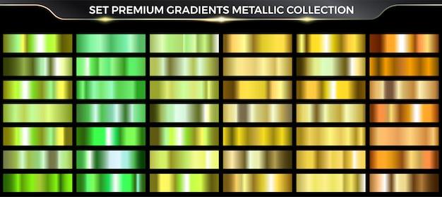 Коллекция золотых и зеленых градиентов, красочная палитра и текстура градиента. Premium векторы