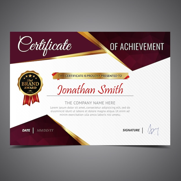 Gold and red certificate Free Vector
