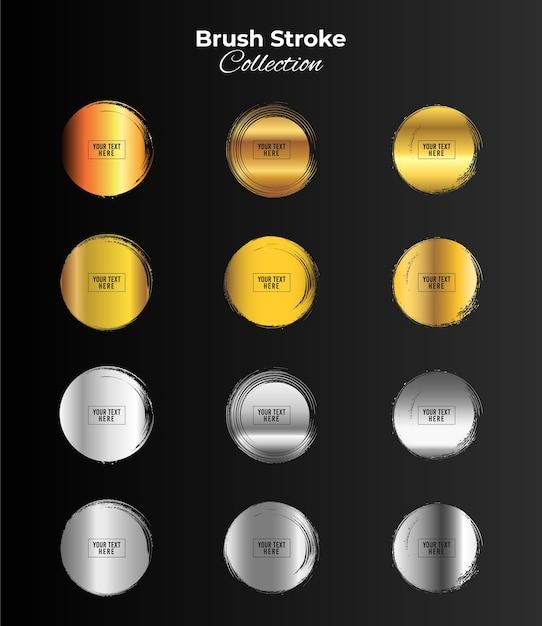 금색과 은색 색상 그런 지 원형 프레임 프리미엄 벡터