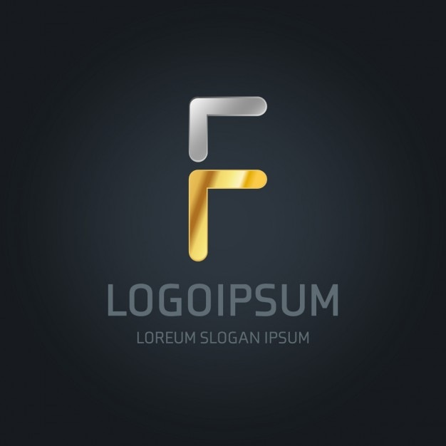 Gold and silver logo with the letter f Vector