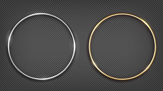 Рамка из золота и серебра. круглый баннер. Premium векторы