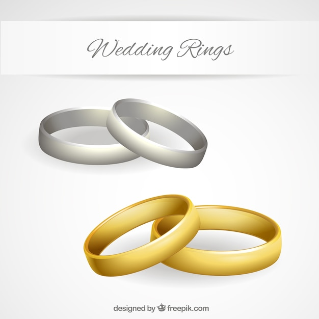 Gold and silver wedding rings Vector Free Download