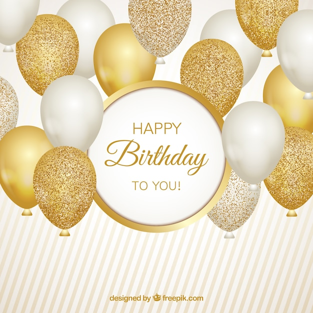 Gold and white balloons background Free Vector