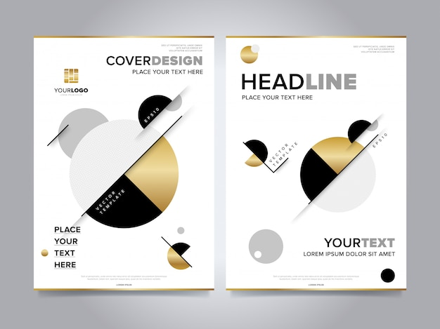 Gold annual report brochure cover Premium Vector
