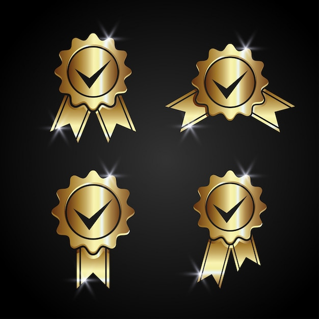 Gold approved accept certified vector Premium Vector