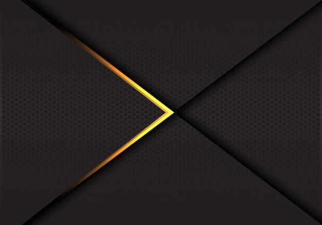 暗い六角形メッシュの豪華な背景の金色の矢印。 Premiumベクター