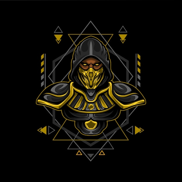 Gold assassin geometry style Premium Vector