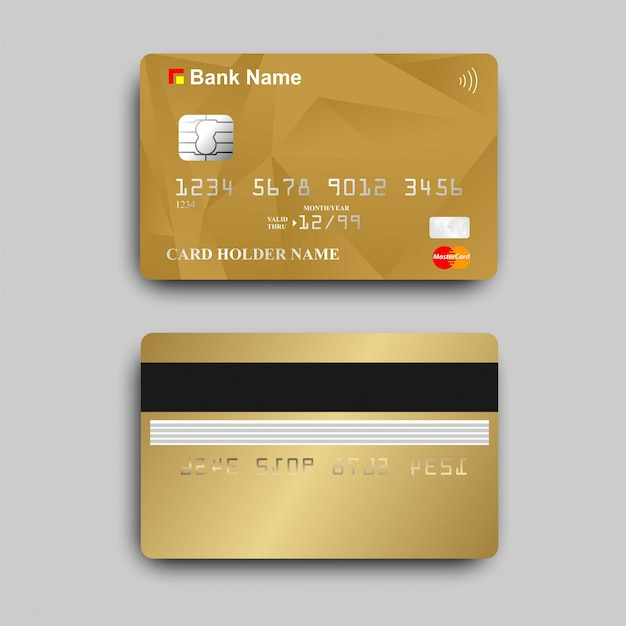Gold atm card with the paywave logo Premium Vector
