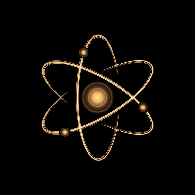 Gold atom light effect Premium Vector
