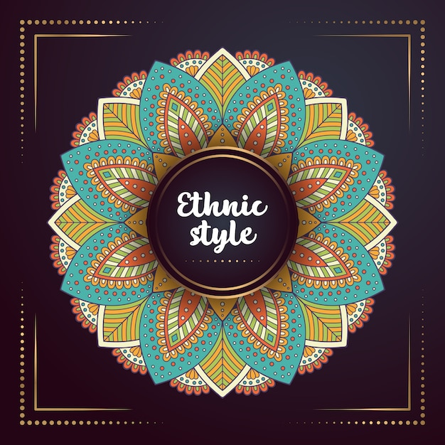Gold background with mandala Premium Vector