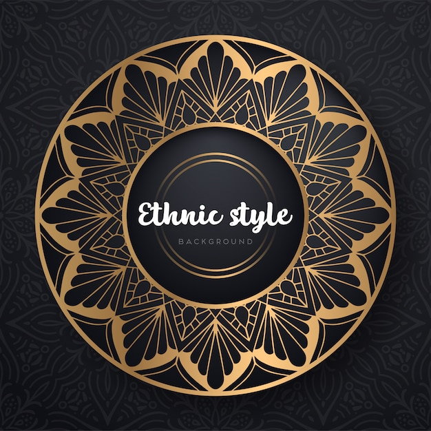 Gold background with mandala Free Vector