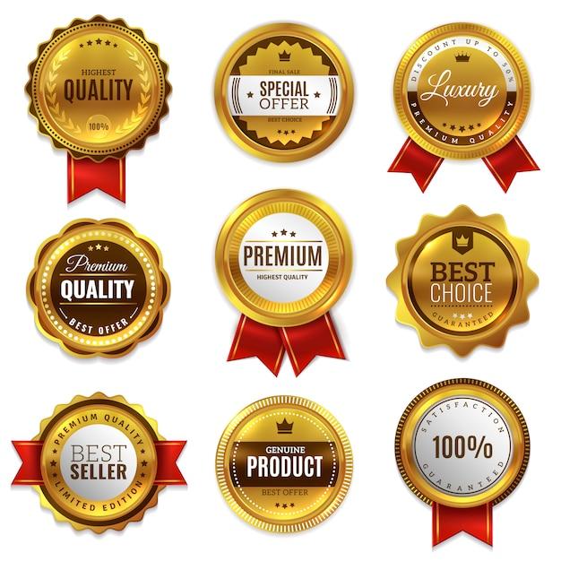 Gold badges seal quality labels. sale medal badge premium stamp golden genuine emblem guarantee round  set Premium Vector