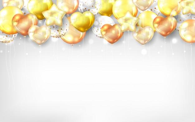 お誕生日おめでとうカードの金の風船背景 無料ベクター