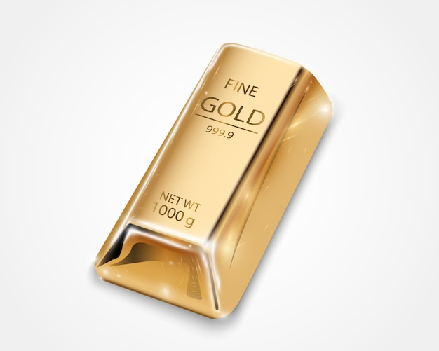 Gold bar isolated on transparent background. Premium Vector