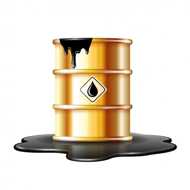 原油のこぼれた水たまりにオイルドロップラベルが付いた金の樽。白い背景の上 Premiumベクター