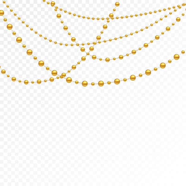 Gold beads on a white background. Premium Vector