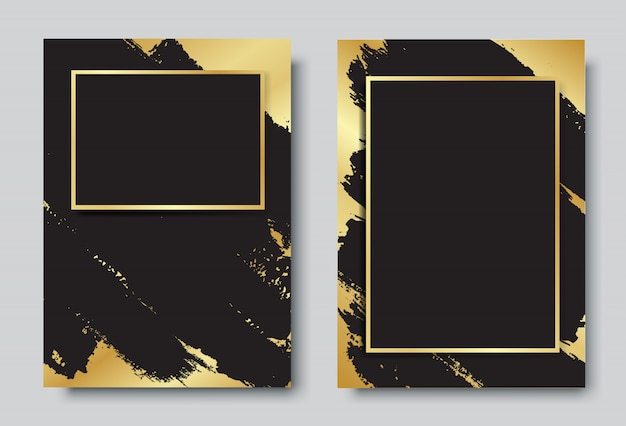 Gold and black background with frame design set Premium Vector