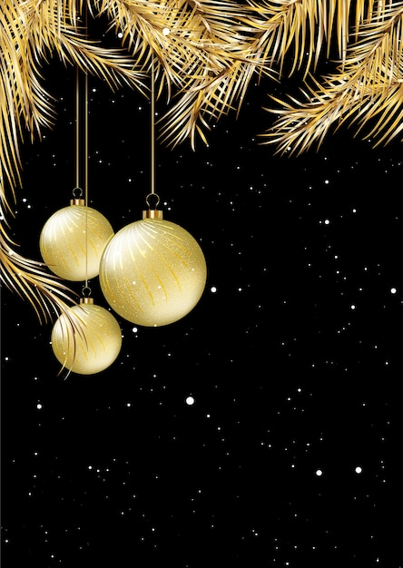 Gold and black christmas card design with hanging baubles Free Vector