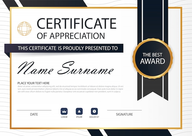 Gold Black Elegance Horizontal Circle Certificate With Vector