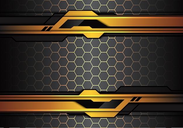 六角形の背景に金色の黒い未来的な線。 Premiumベクター