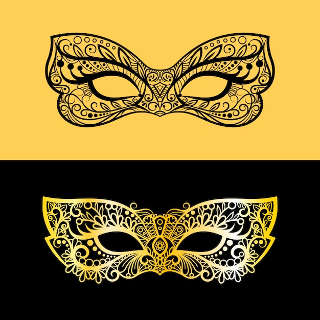 Gold and black lace mask Premium Vector