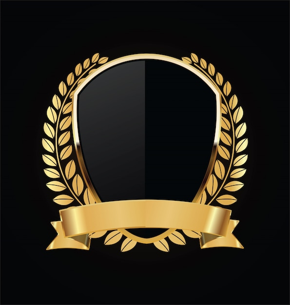 Gold and black shield with gold laurels Premium Vector