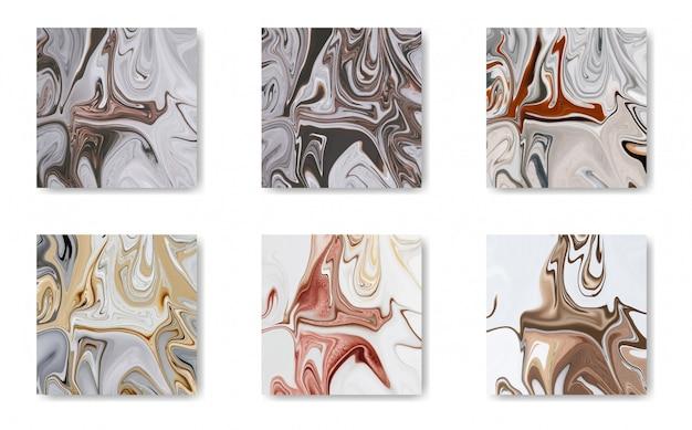 Gold, black, white marble tiles set Premium Vector